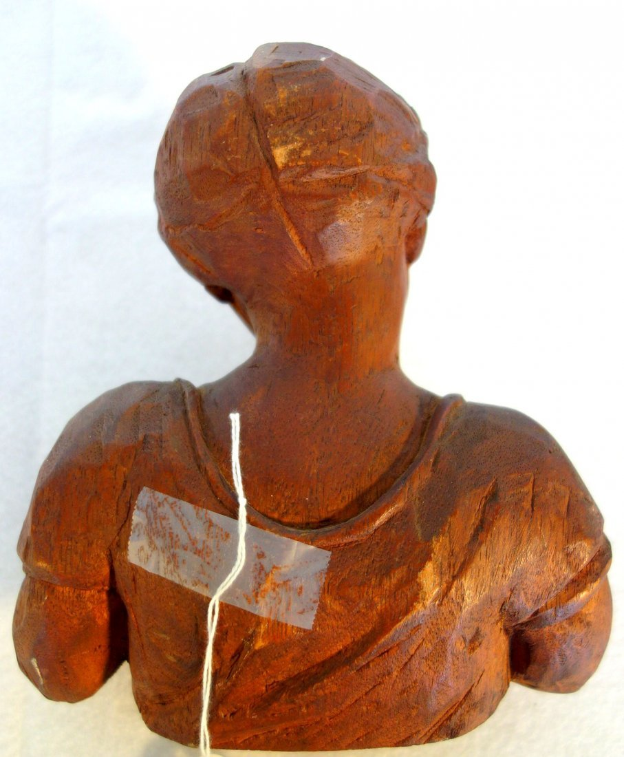 Two carved wooden items including a sculpture of a lady - 3