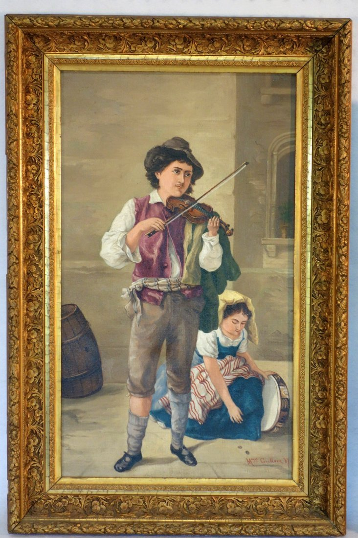 Two 19th century O/C paintings framed in good American - 5
