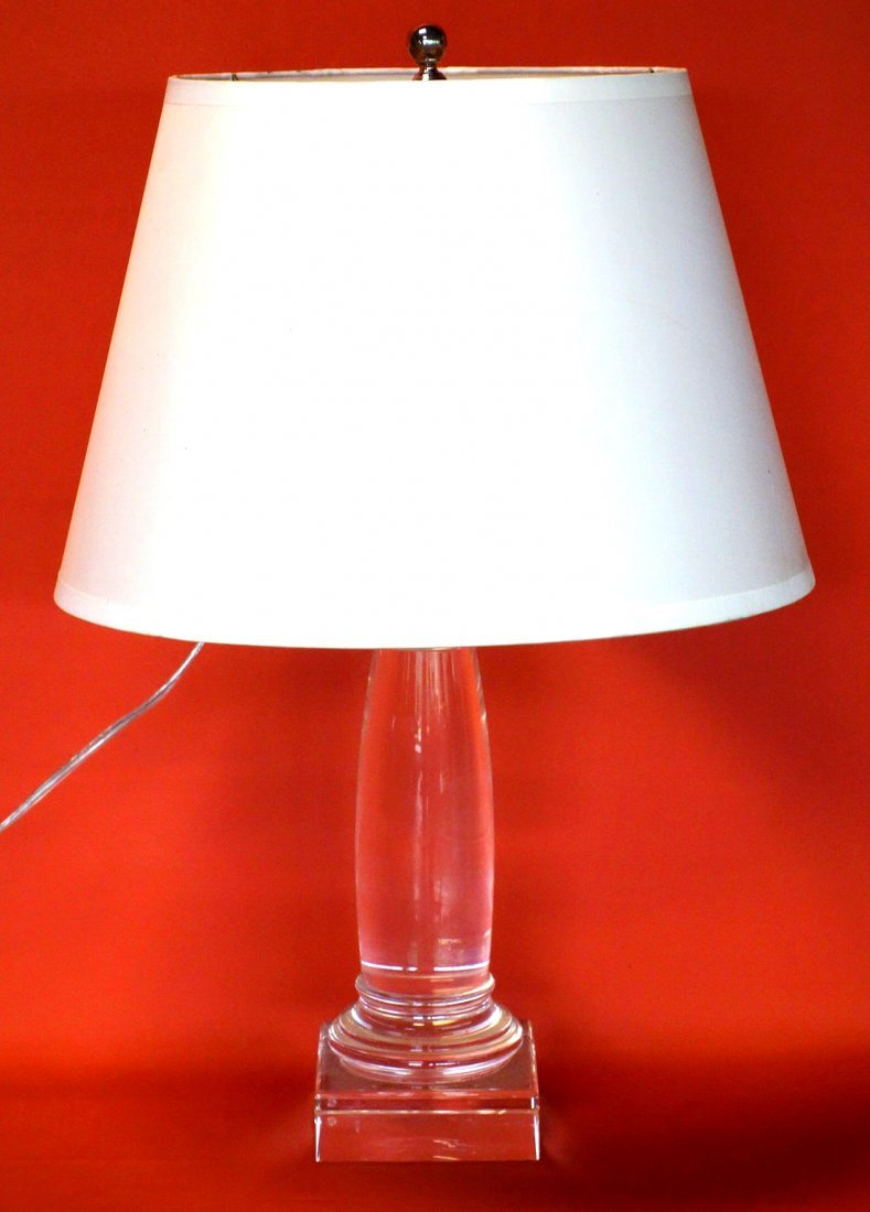 High Quality solid colorless glass table lamp, all cut