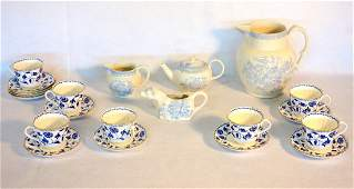 Grouping of 21 pieces of blue and white china including