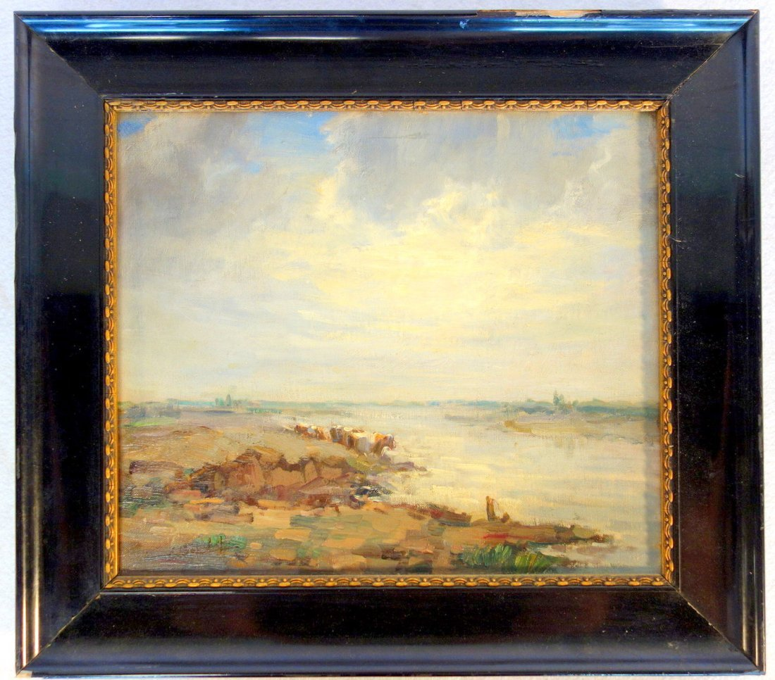 O/C Impressionist landscape with river at rocky