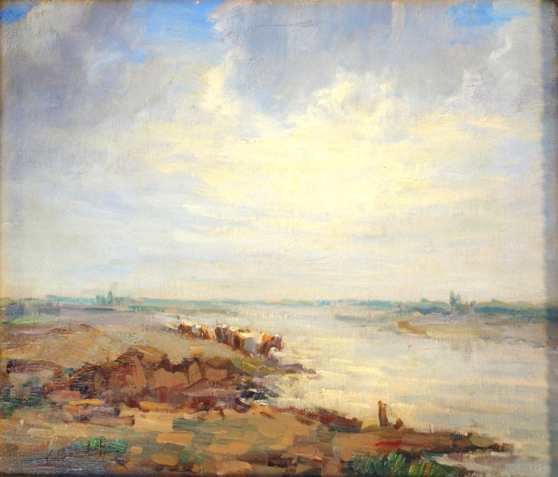 O/C Impressionist landscape with river at rocky - 2
