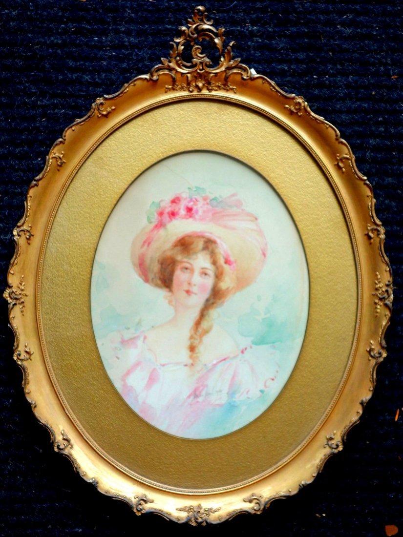 Marion Esther Markham (NY 1875-1918). W/C Portrait of