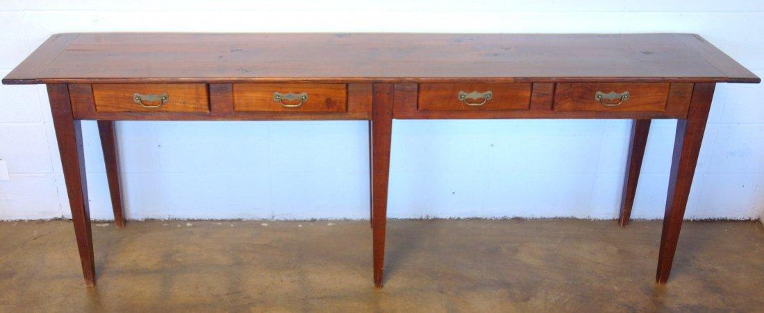 Long pine custom made work or sofa table with 4 drawers