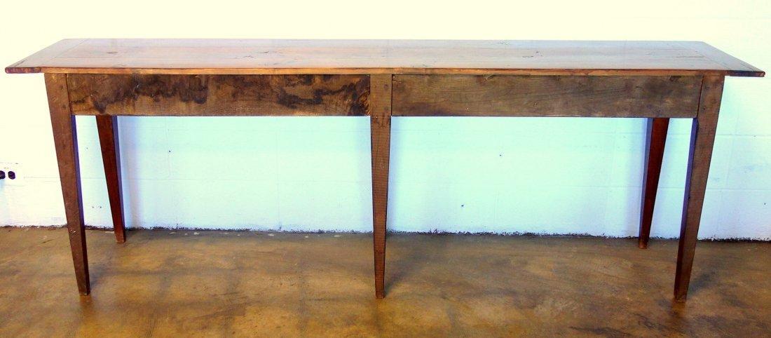 Long pine custom made work or sofa table with 4 drawers - 3
