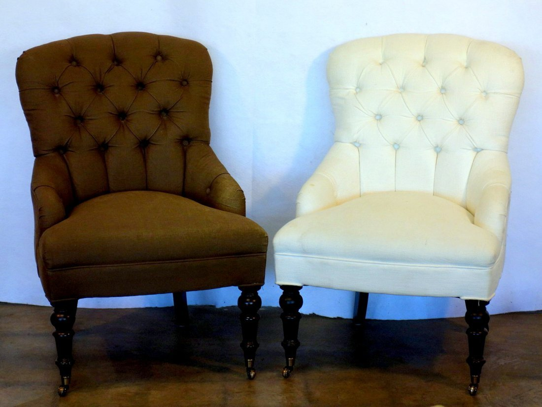 Two Victorian style upholstered parlor chairs  with