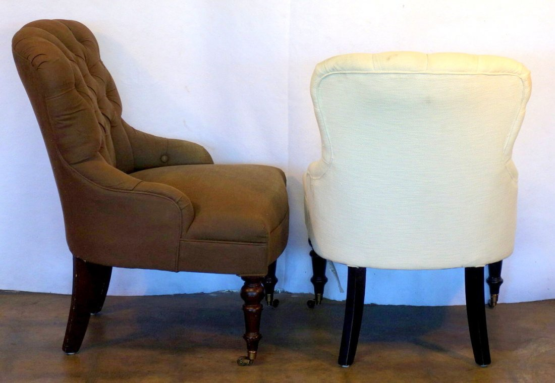 Two Victorian style upholstered parlor chairs  with - 3