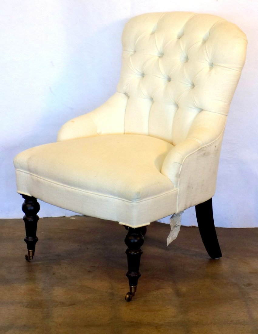 Two Victorian style upholstered parlor chairs  with - 4