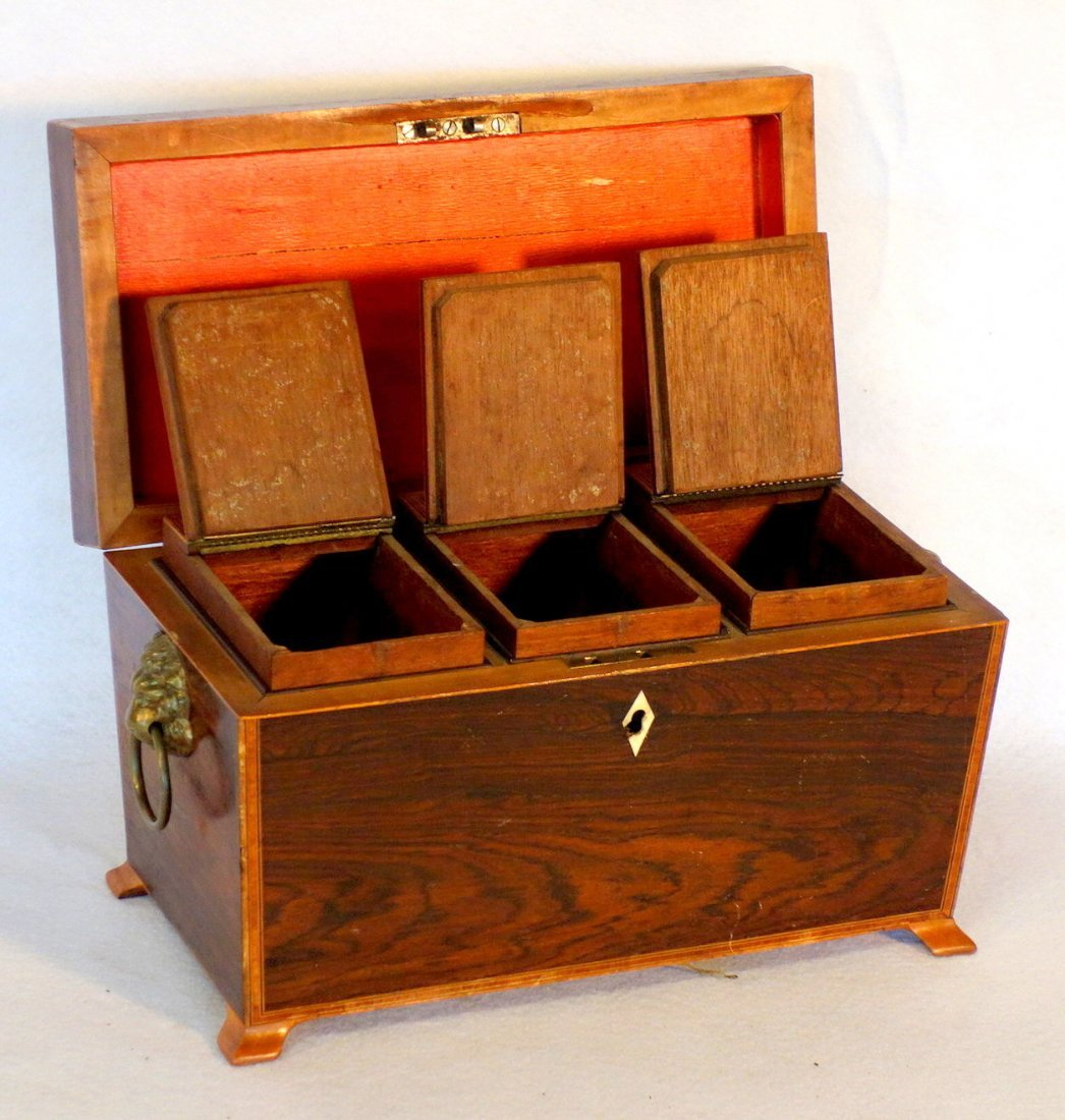 Rosewood 19th century footed tea caddy with applied - 2