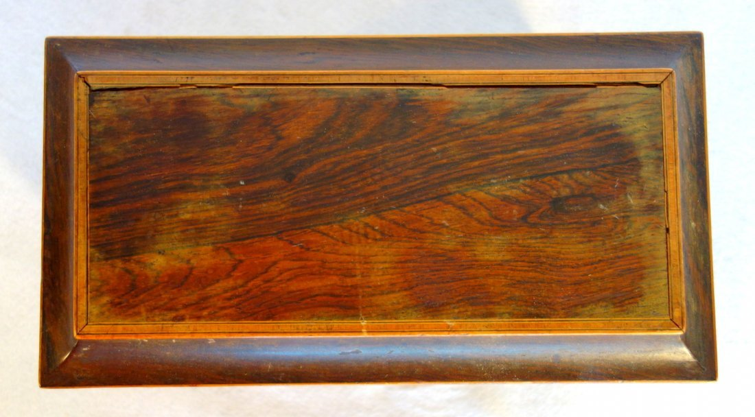 Rosewood 19th century footed tea caddy with applied - 3