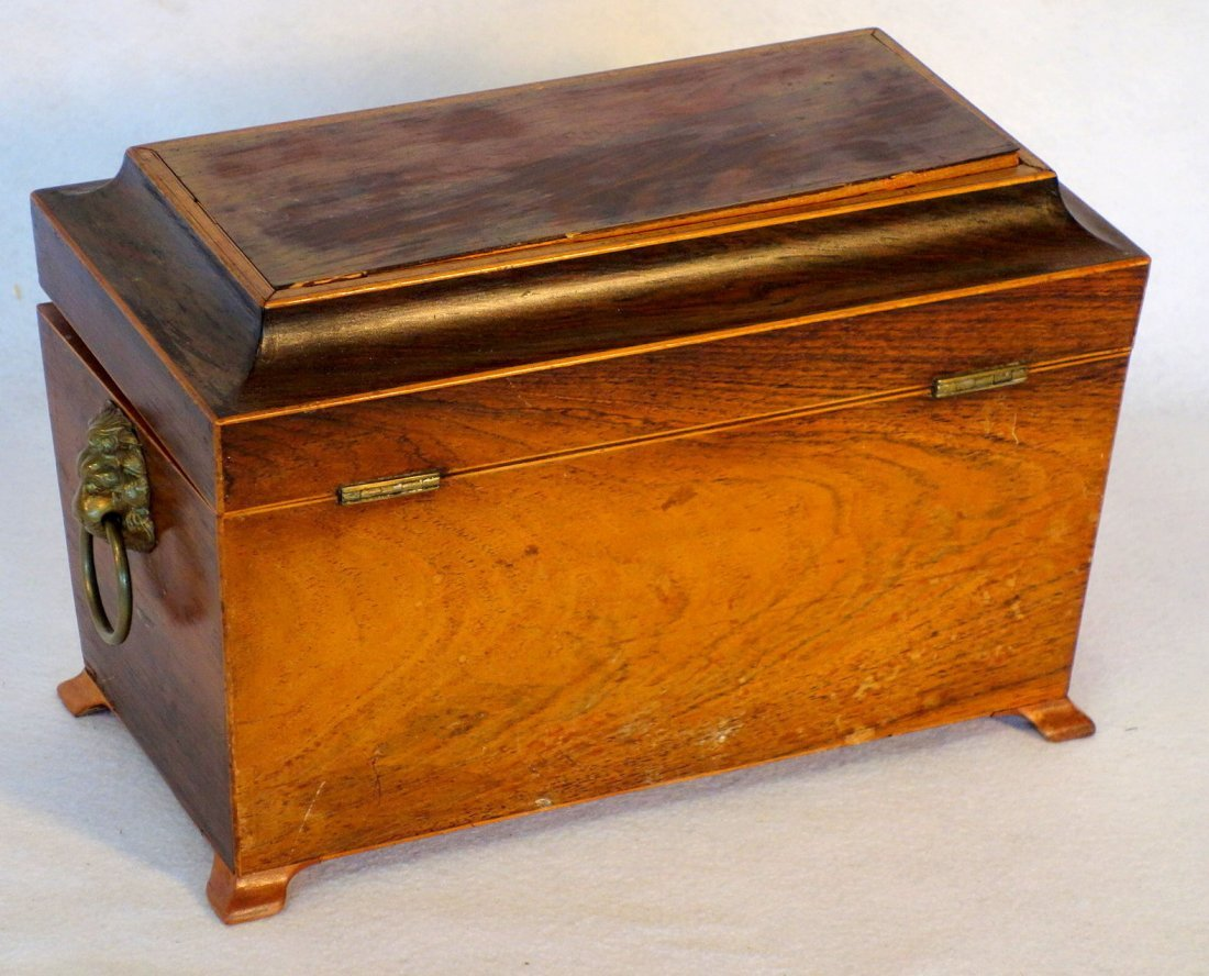Rosewood 19th century footed tea caddy with applied - 4