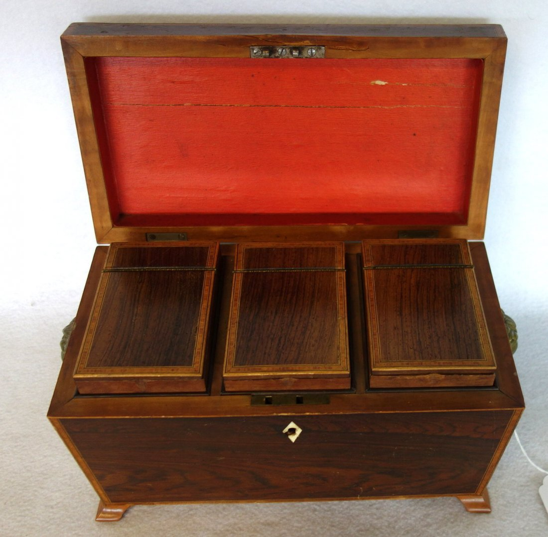 Rosewood 19th century footed tea caddy with applied - 5