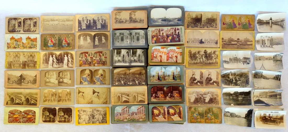 Large grouping of mostly European stereoview cards -