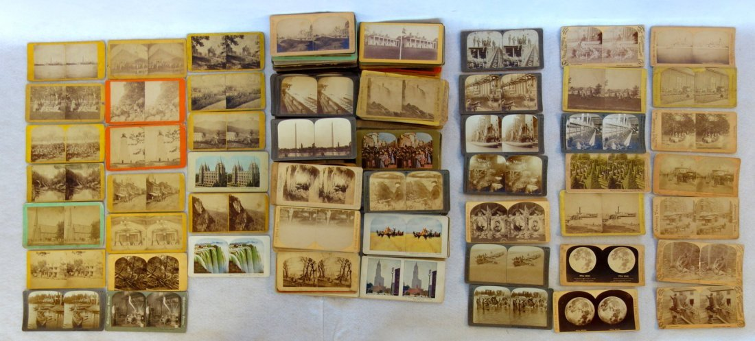 Large grouping of mostly American stereoview cards,