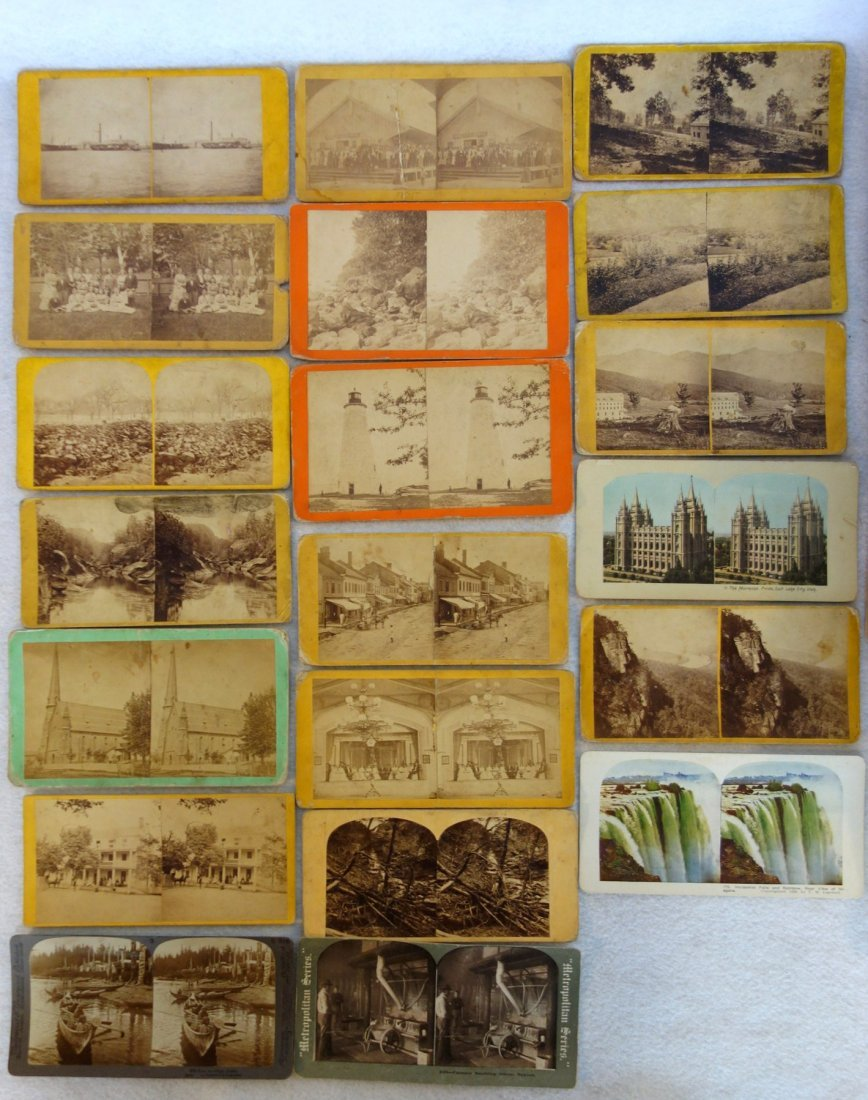 Large grouping of mostly American stereoview cards, - 2