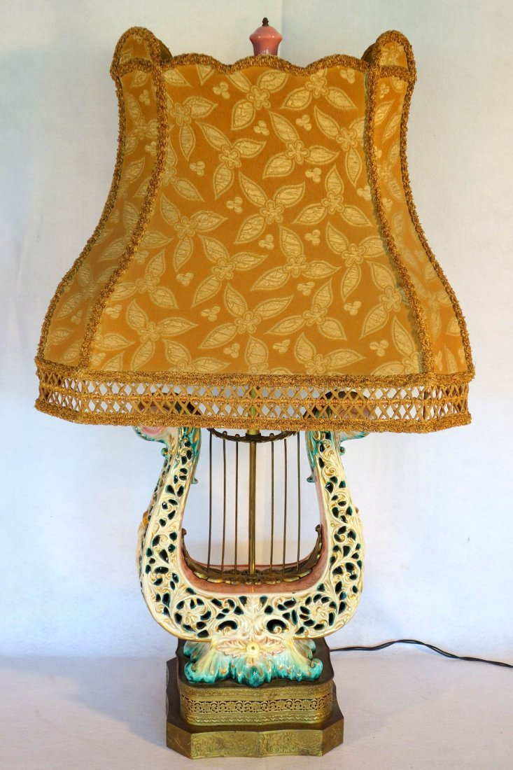Hand painted Capodimonte lyre shaped porcelain table