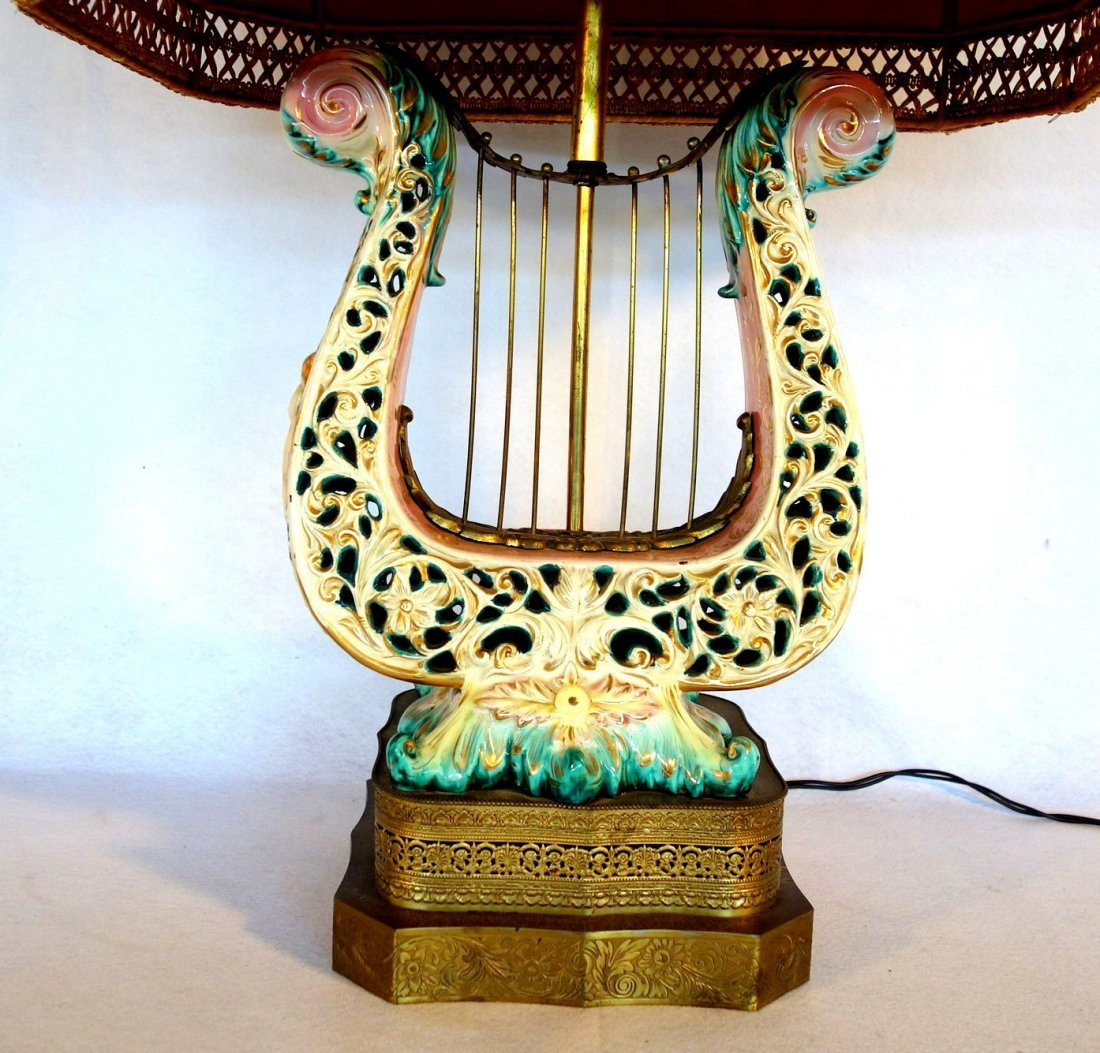 Hand painted Capodimonte lyre shaped porcelain table - 2