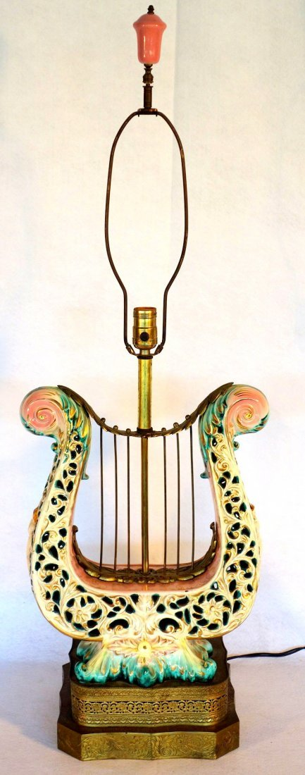 Hand painted Capodimonte lyre shaped porcelain table - 3