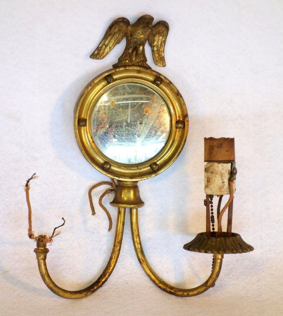 Three brass matching wall sconces with convex mirrors, - 2