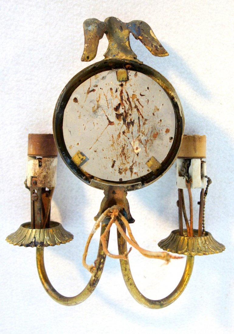 Three brass matching wall sconces with convex mirrors, - 3