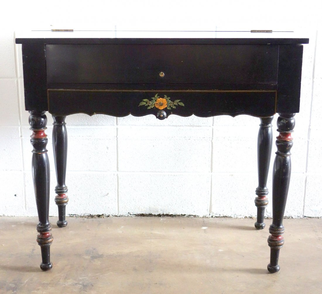 Old ebonized spinet desk with fitted interior and hand