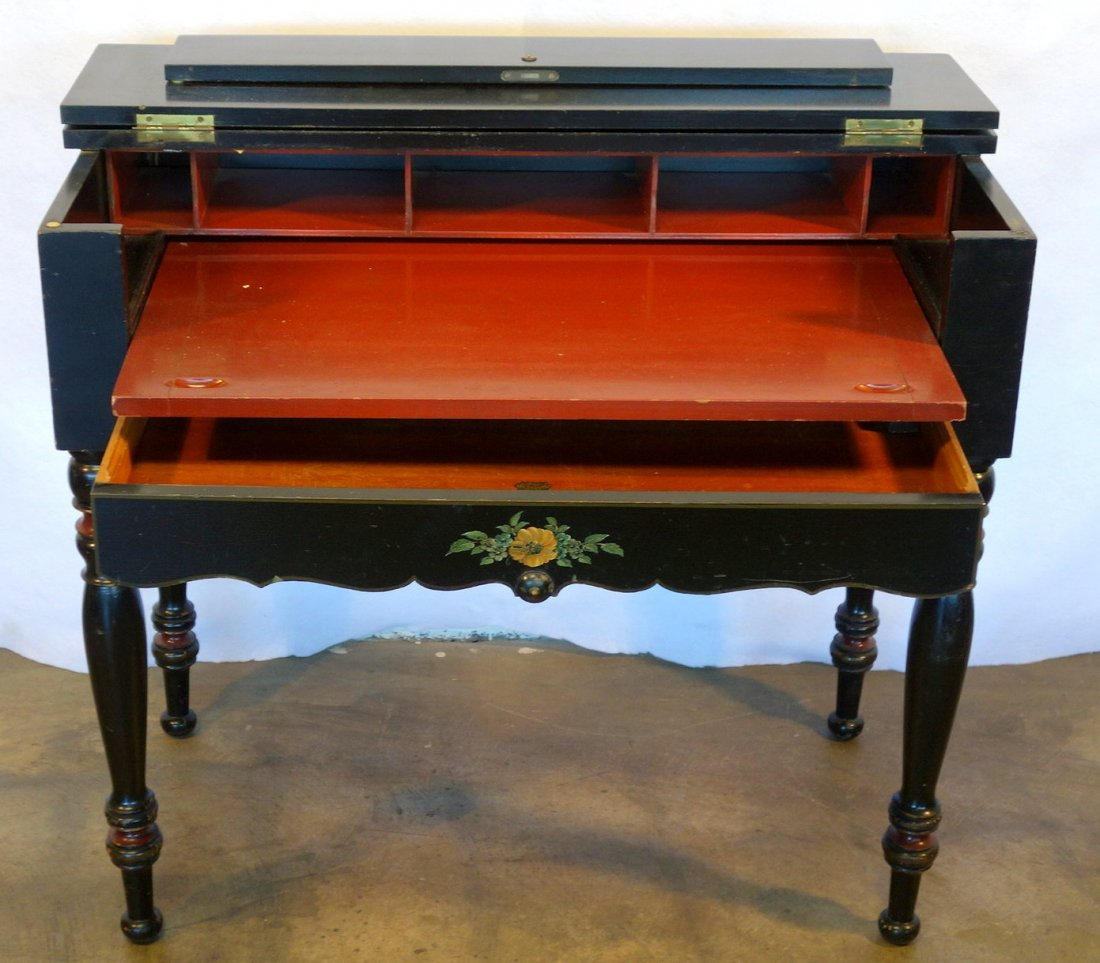 Old ebonized spinet desk with fitted interior and hand - 2
