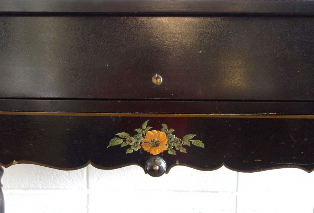 Old ebonized spinet desk with fitted interior and hand - 5