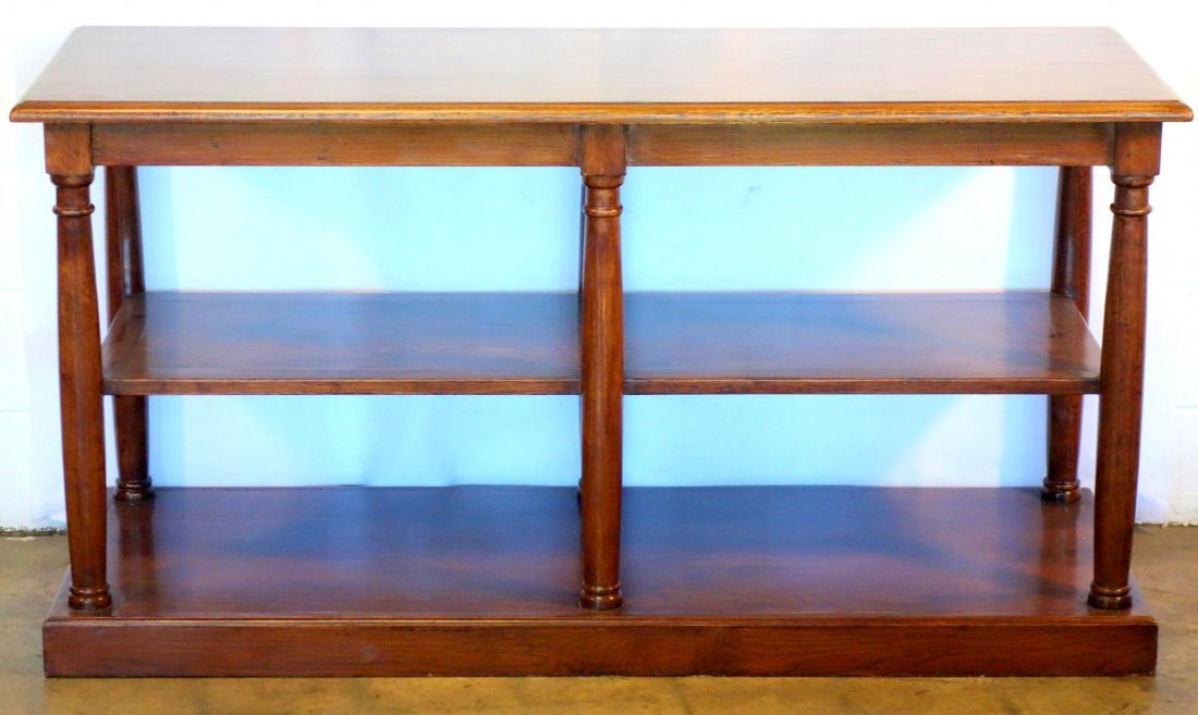 Contemporary stained oak 2 tier library table in the
