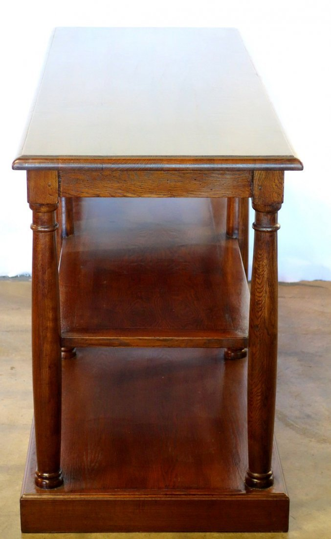 Contemporary stained oak 2 tier library table in the - 2