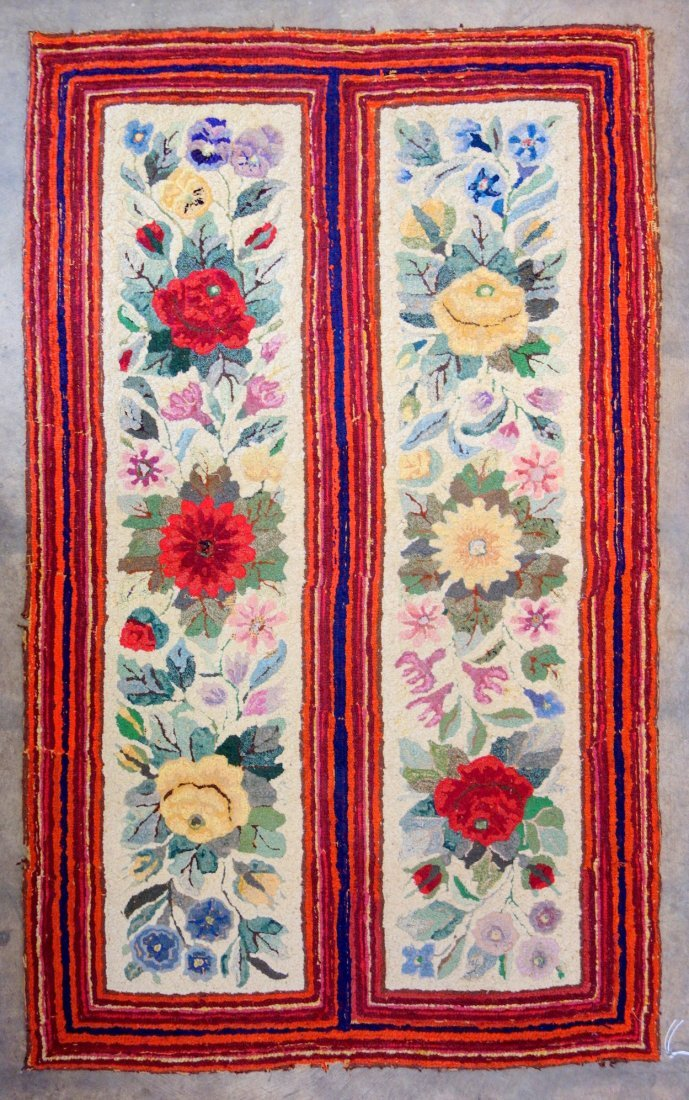 Floral hooked rug with rectangular border - very good