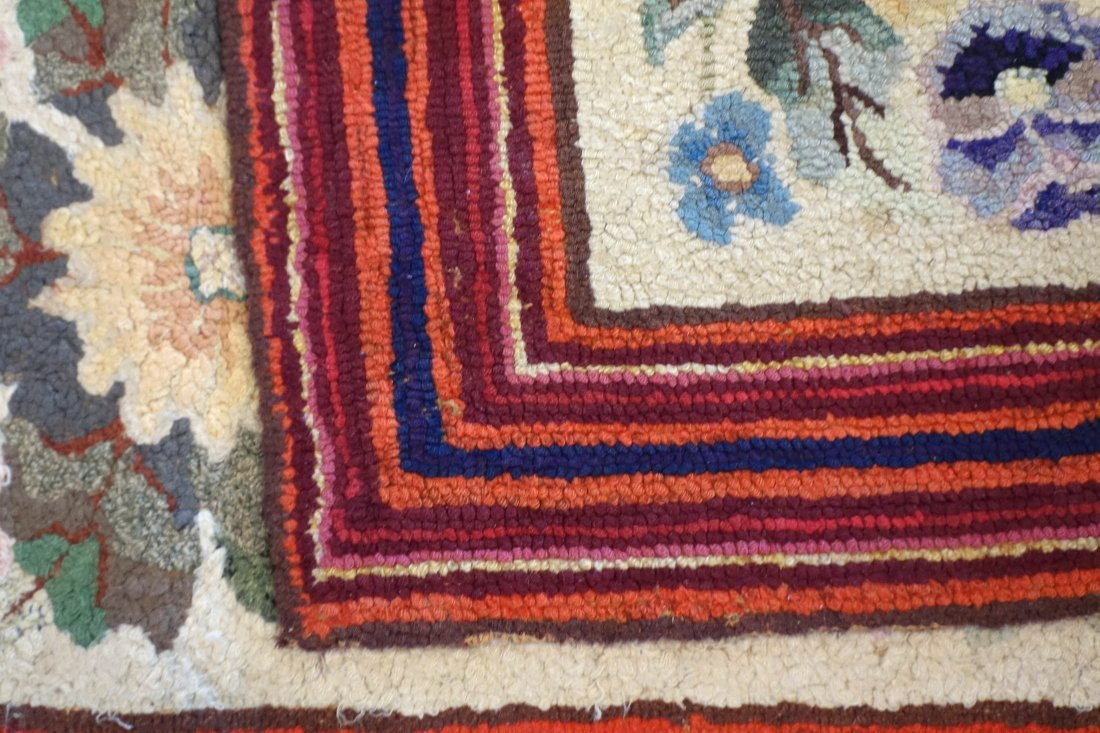 Floral hooked rug with rectangular border - very good - 4