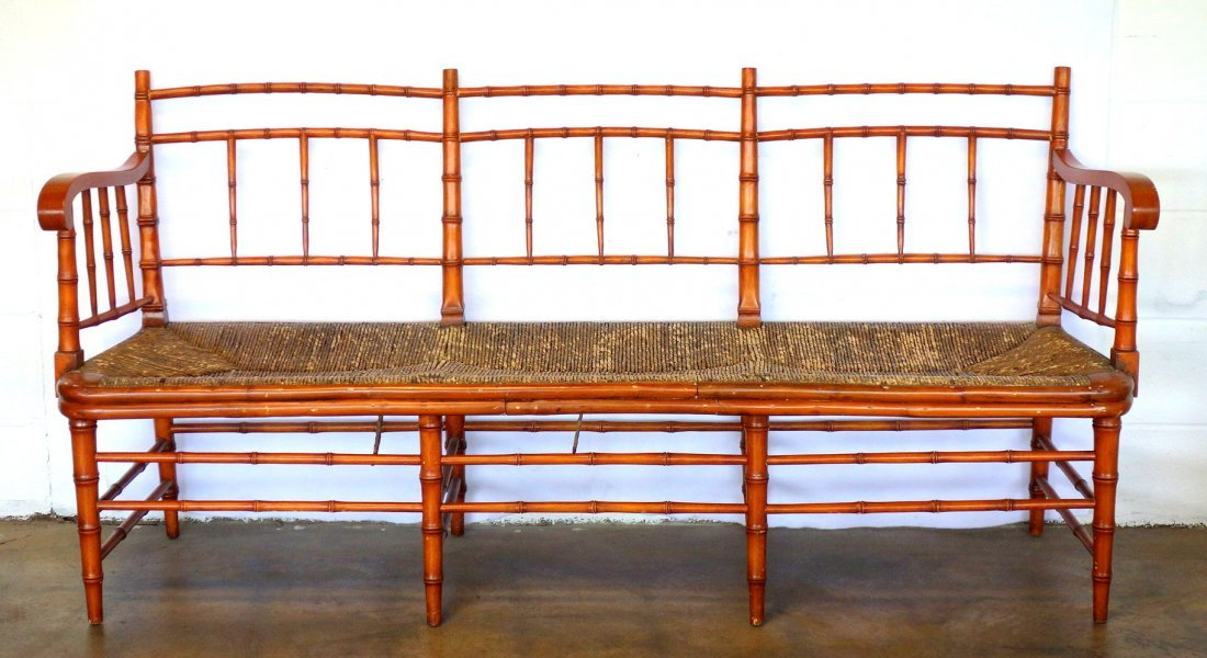 Sheraton faux bamboo 3 section bench with faux rush