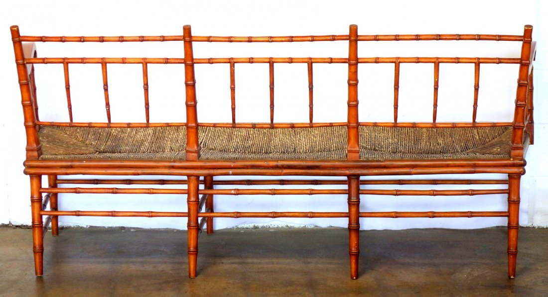 Sheraton faux bamboo 3 section bench with faux rush - 3