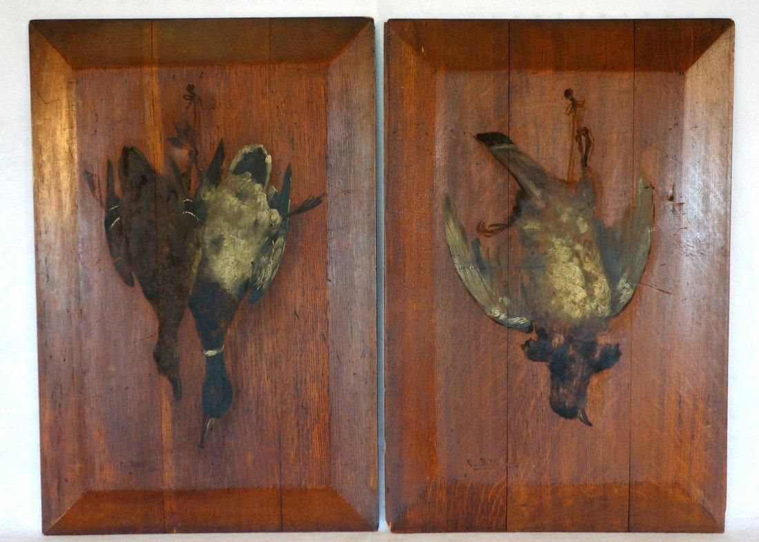 Pair of hanging game bird paintings on oak raised