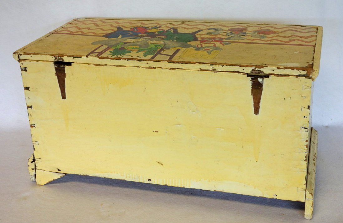 Chippendale blanket box in newer paint on dovetailed - 6