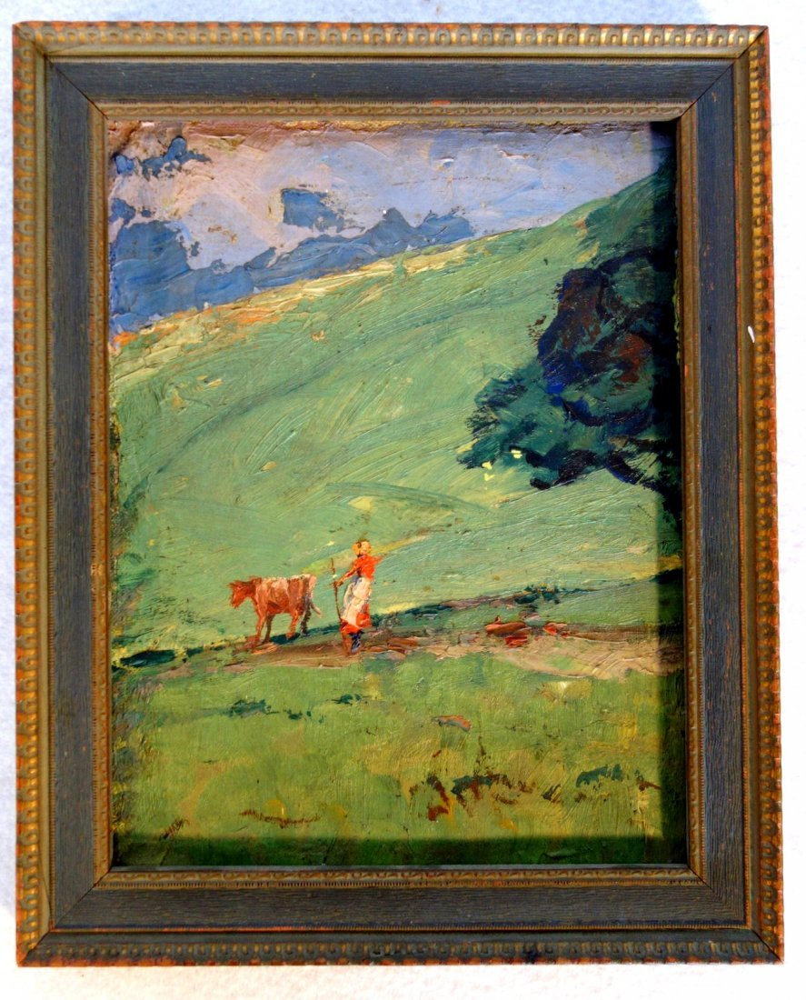 Impressionist O/B landscape with lady walking cow down