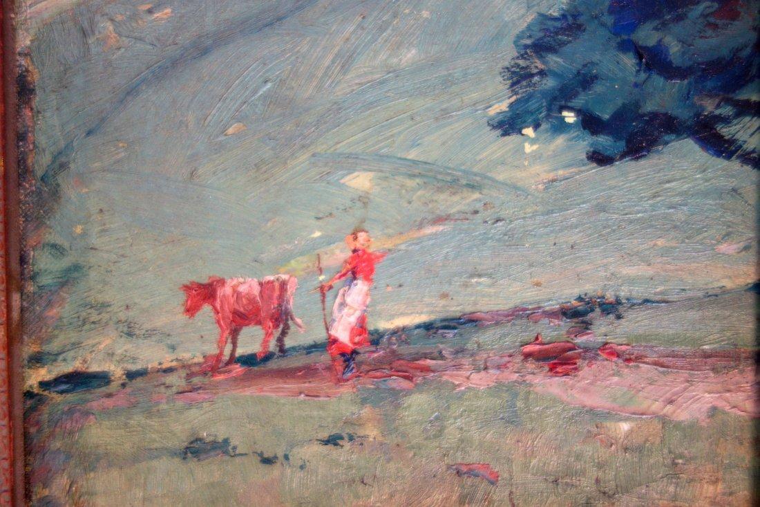 Impressionist O/B landscape with lady walking cow down - 2