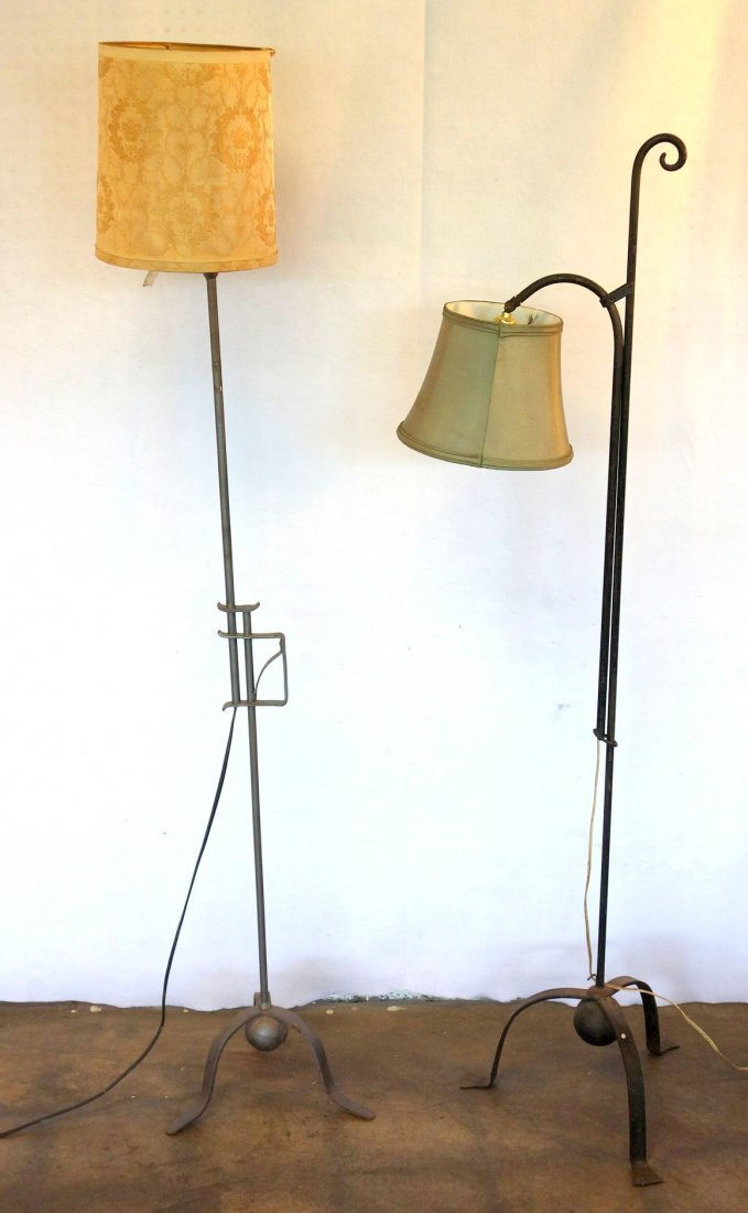 Two arts and crafts adjustable iron floor lamps, early