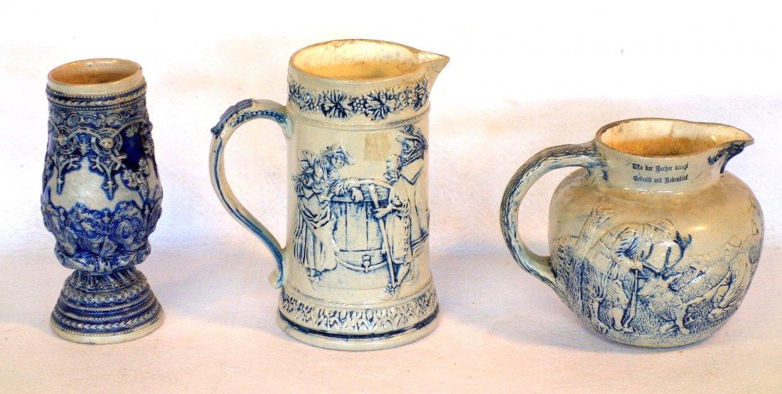 Three German stoneware items including milk pitcher - 2