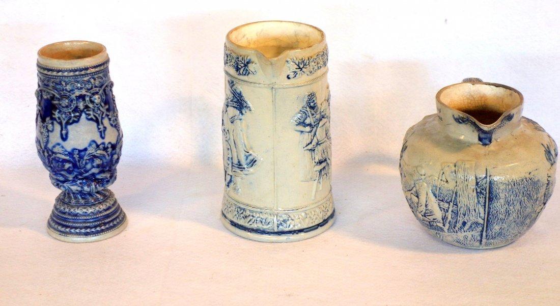 Three German stoneware items including milk pitcher - 3