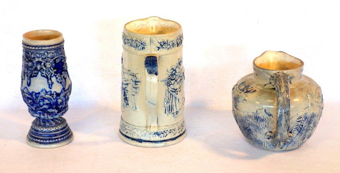 Three German stoneware items including milk pitcher - 4