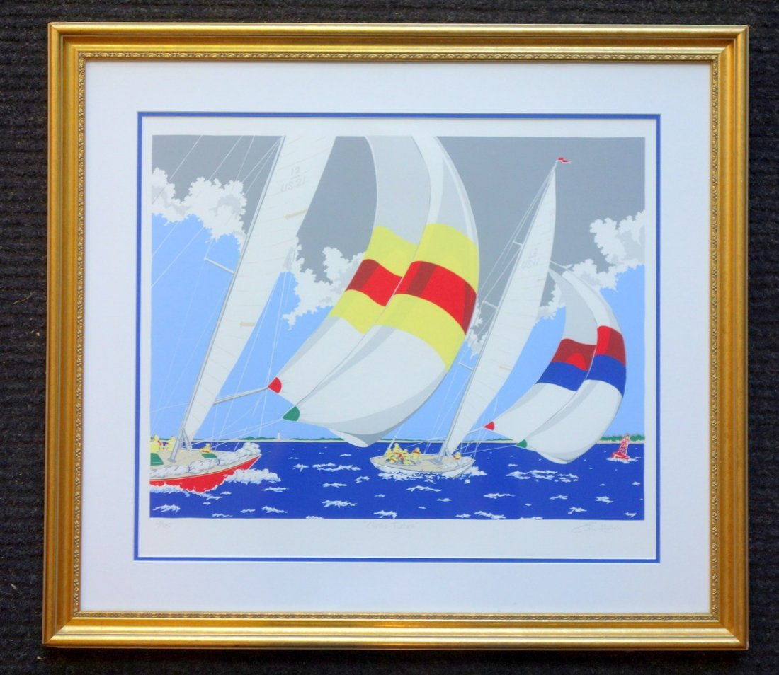 Erich Holch pencil signed sailboat print in limited