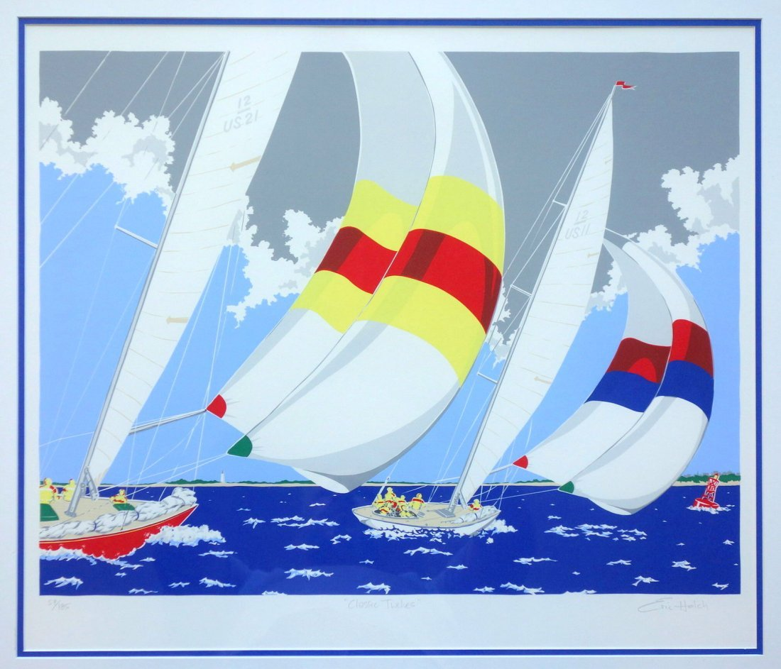 Erich Holch pencil signed sailboat print in limited - 5