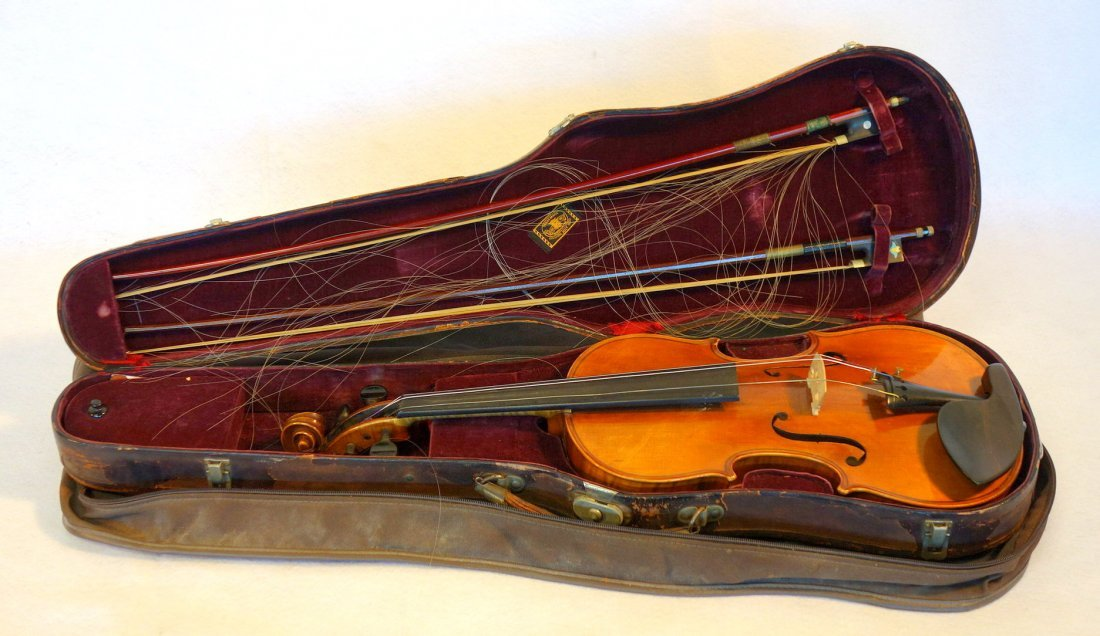 Straduari tiger maple violin with 2 bows.