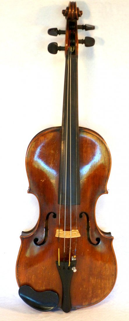 Maple violin, bow and hard case. The violin has a paper - 2