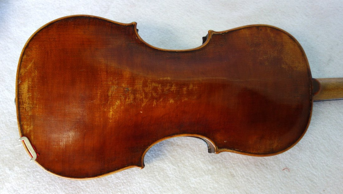 Maple violin, bow and hard case. The violin has a paper - 5