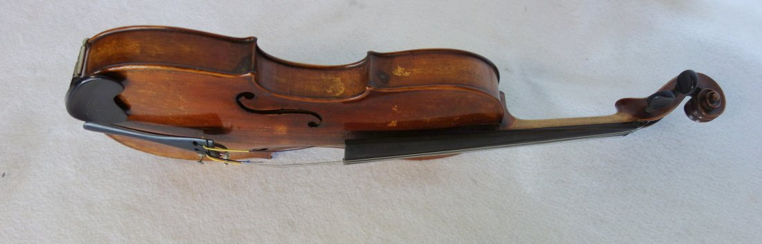 Maple violin, bow and hard case. The violin has a paper - 7