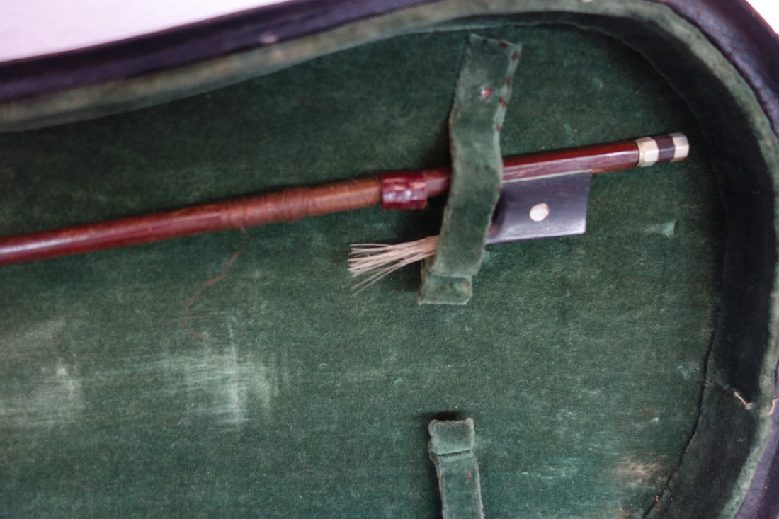 Maple violin, bow and hard case. The violin has a paper - 8