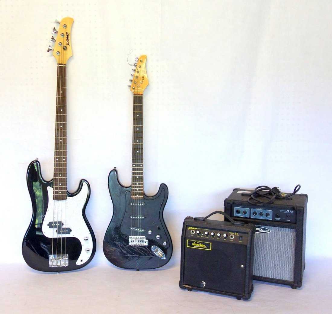 Two electric guitars and 2 amplifiers. Includes: Guitar