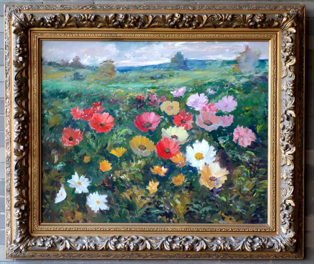 Large O/C Still life of flowers in ornate custom made